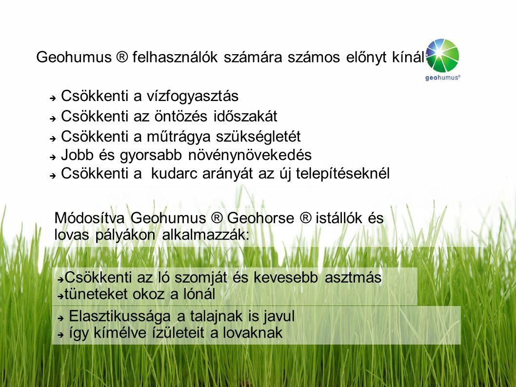 Geohumus ® felhasználók számára számos előnyt kínál:  Csökkenti a vízfogyasztás  Csökkenti az öntözés időszakát  Csökkenti a műtrágya szükségletét