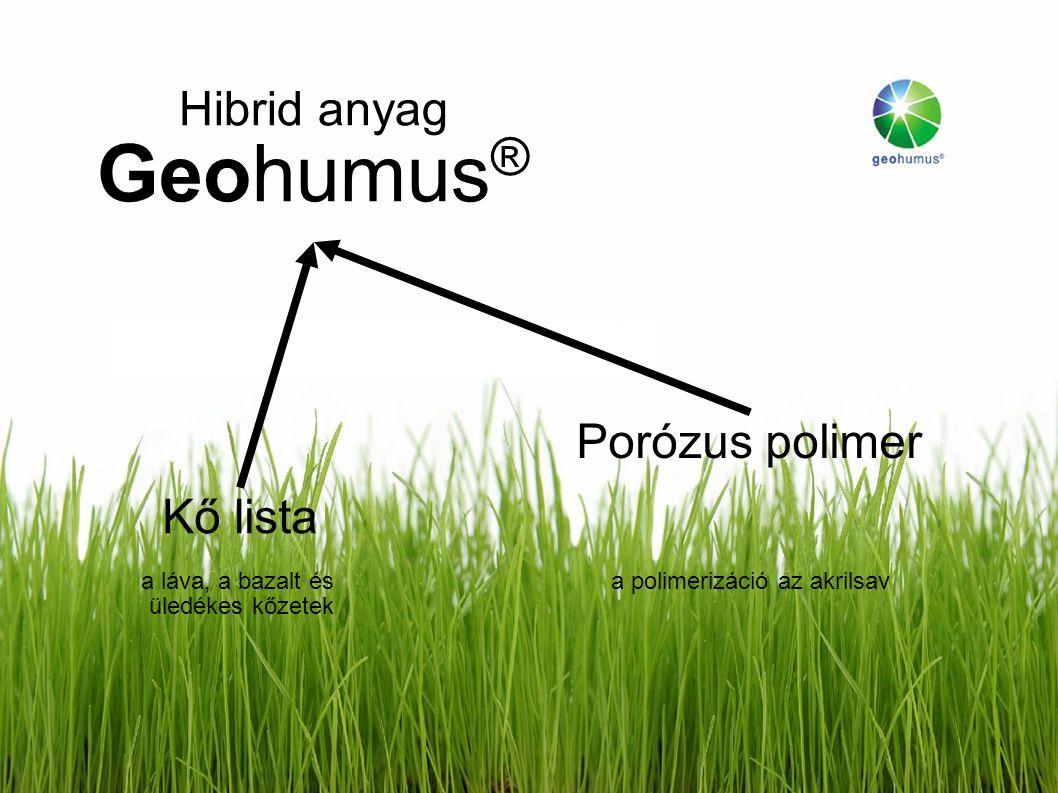 Hibrid anyag Geohumus ® Kő lista a láva, a bazalt és üledékes kőzetek Porózus polimer a polimerizáció az akrilsav
