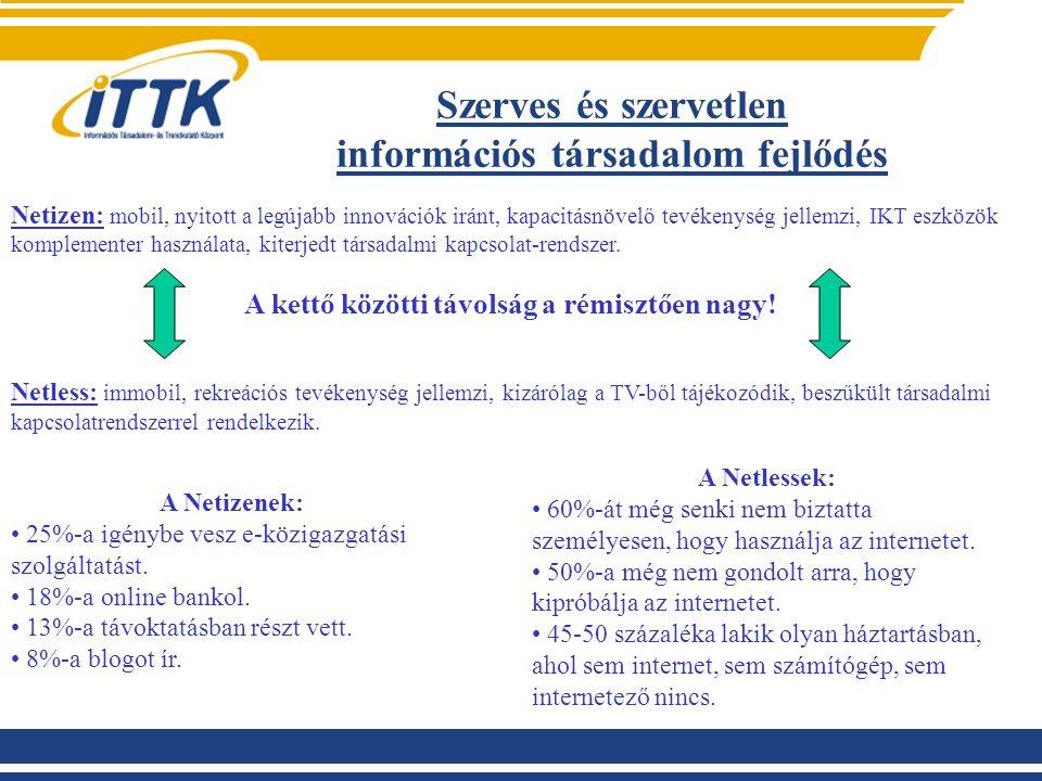 Szerves és szervetlen információs társadalom fejlődés Netizen: mobil, nyitott a legújabb innovációk iránt, kapacitásnövelő tevékenység jellemzi, IKT e