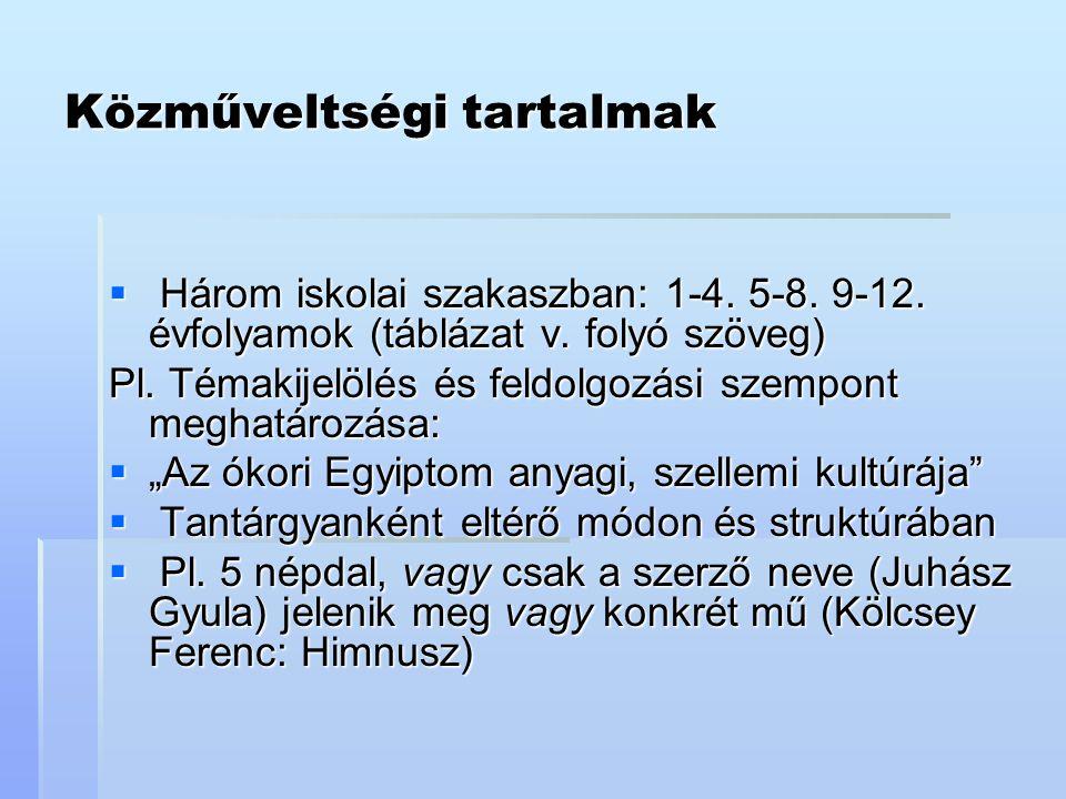 Közműveltségi tartalmak  Három iskolai szakaszban: 1-4. 5-8. 9-12. évfolyamok (táblázat v. folyó szöveg) Pl. Témakijelölés és feldolgozási szempont m