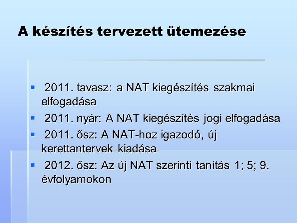 A készítés tervezett ütemezése  2011. tavasz: a NAT kiegészítés szakmai elfogadása  2011. nyár: A NAT kiegészítés jogi elfogadása  2011. ősz: A NAT