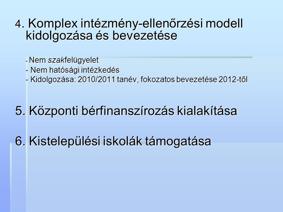 4. Komplex intézmény-ellenőrzési modell kidolgozása és bevezetése - Nem szakfelügyelet - Nem hatósági intézkedés - Kidolgozása: 2010/2011 tanév, fokoz