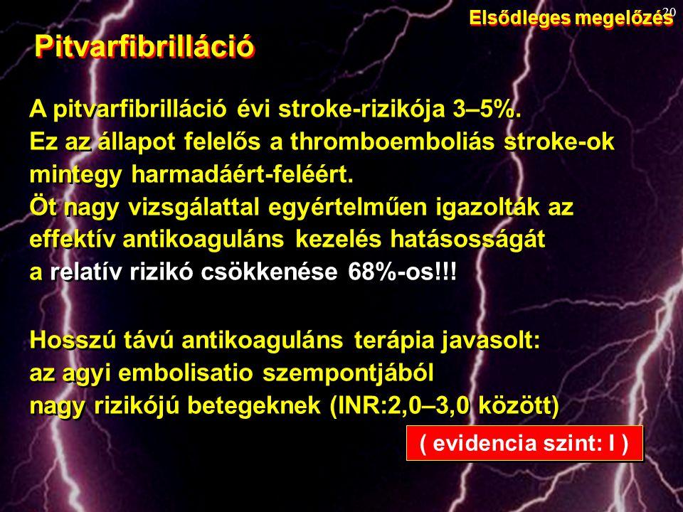 20 A pitvarfibrilláció évi stroke-rizikója 3–5%. Ez az állapot felelős a thromboemboliás stroke-ok mintegy harmadáért-feléért. Öt nagy vizsgálattal eg
