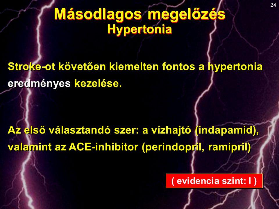 24 Másodlagos megelőzés Hypertonia Másodlagos megelőzés Hypertonia Stroke-ot követően kiemelten fontos a hypertonia eredményes kezelése. Az első válas