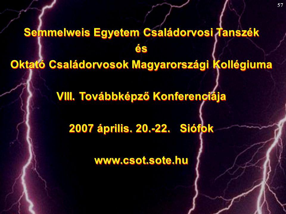 57 Semmelweis Egyetem Családorvosi Tanszék és Oktató Családorvosok Magyarországi Kollégiuma VIII. Továbbképző Konferenciája 2007 április. 20.-22. Sióf
