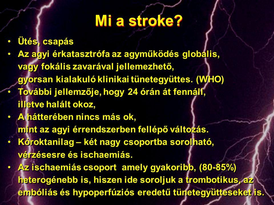 Mi a stroke? •Ütés, csapás •Az agyi érkatasztrófa az agyműködés globalis, vagy fokális zavarával jellemezhető, gyorsan kialakuló klinikai tünetegyütte