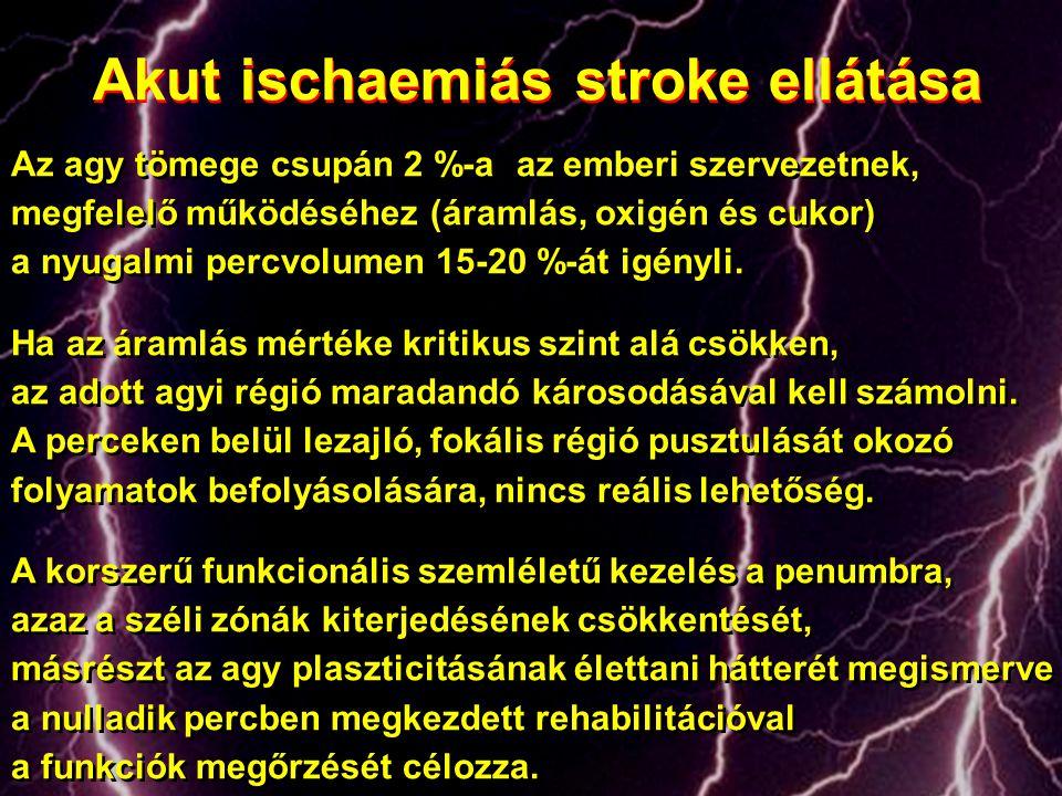 Akut ischaemiás stroke ellátása Az agy tömege csupán 2 %-a az emberi szervezetnek, megfelelő működéséhez (áramlás, oxigén és cukor) a nyugalmi percvol