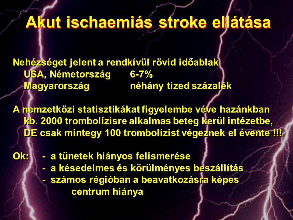 Akut ischaemiás stroke ellátása Nehézséget jelent a rendkívül rövid időablak USA, Németország6-7% Magyarország néhány tized százalék A nemzetközi stat