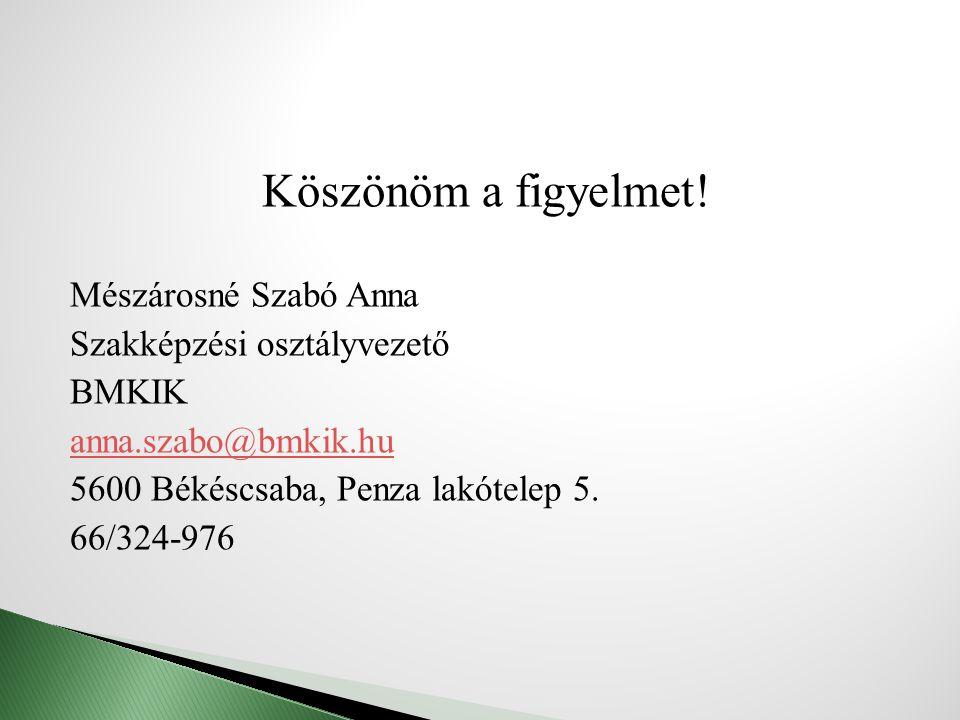 Köszönöm a figyelmet! Mészárosné Szabó Anna Szakképzési osztályvezető BMKIK anna.szabo@bmkik.hu 5600 Békéscsaba, Penza lakótelep 5. 66/324-976