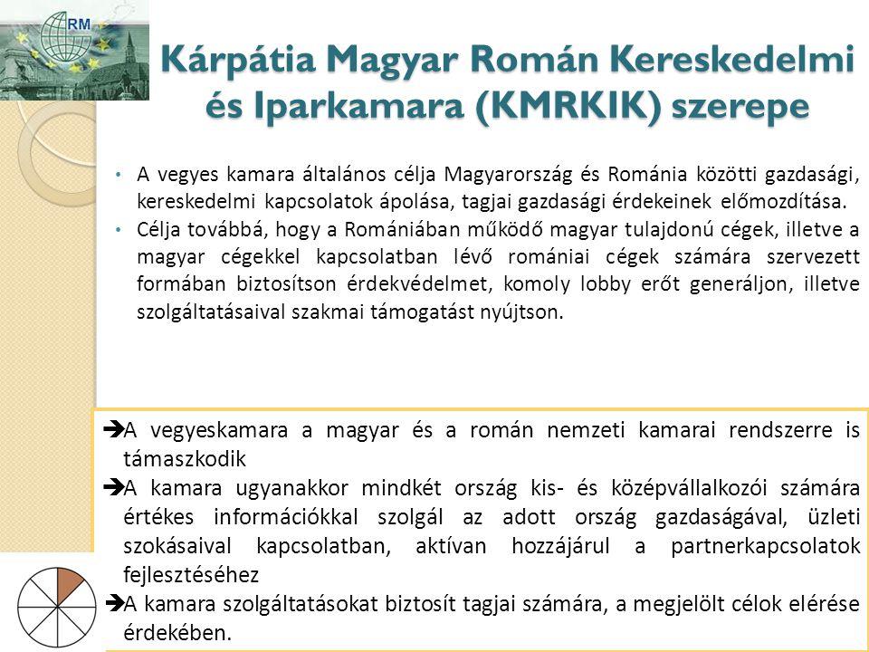 Kárpátia Magyar Román Kereskedelmi és Iparkamara (KMRKIK) szerepe • A vegyes kamara általános célja Magyarország és Románia közötti gazdasági, kereskedelmi kapcsolatok ápolása, tagjai gazdasági érdekeinek előmozdítása.