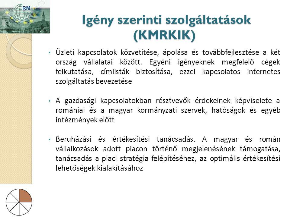 Igény szerinti szolgáltatások (KMRKIK) Igény szerinti szolgáltatások (KMRKIK) • Üzleti kapcsolatok közvetítése, ápolása és továbbfejlesztése a két ország vállalatai között.