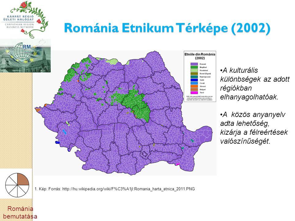 Románia Etnikum Térképe (2002) •A kulturális különbségek az adott régiókban elhanyagolhatóak. •A közös anyanyelv adta lehetőség, kizárja a félreértése