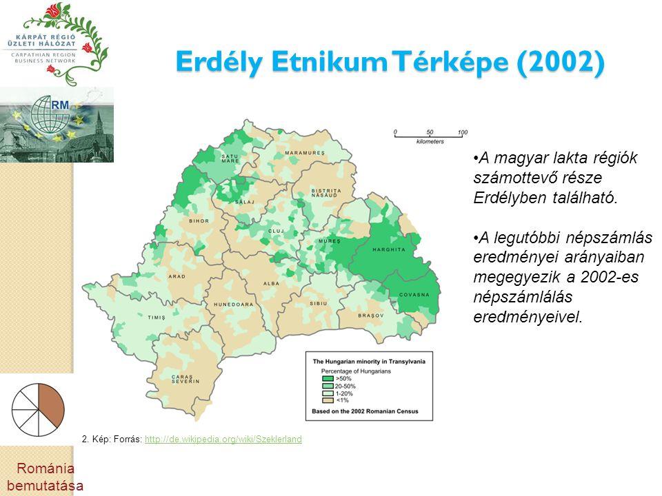 Erdély Etnikum Térképe (2002) •A magyar lakta régiók számottevő része Erdélyben található. •A legutóbbi népszámlás eredményei arányaiban megegyezik a