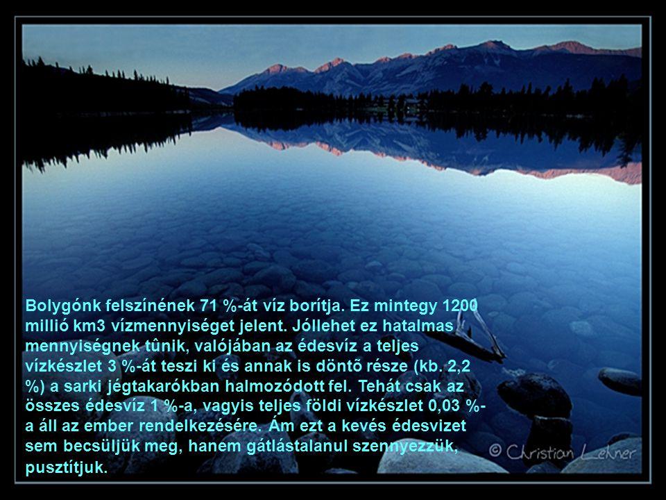 Bolygónk felszínének 71 %-át víz borítja. Ez mintegy 1200 millió km3 vízmennyiséget jelent. Jóllehet ez hatalmas mennyiségnek tûnik, valójában az édes
