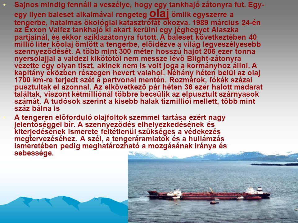 •Sajnos mindig fennáll a veszélye, hogy egy tankhajó zátonyra fut. Egy- egy ilyen baleset alkalmával rengeteg olaj ömlik egyszerre a tengerbe, hatalma