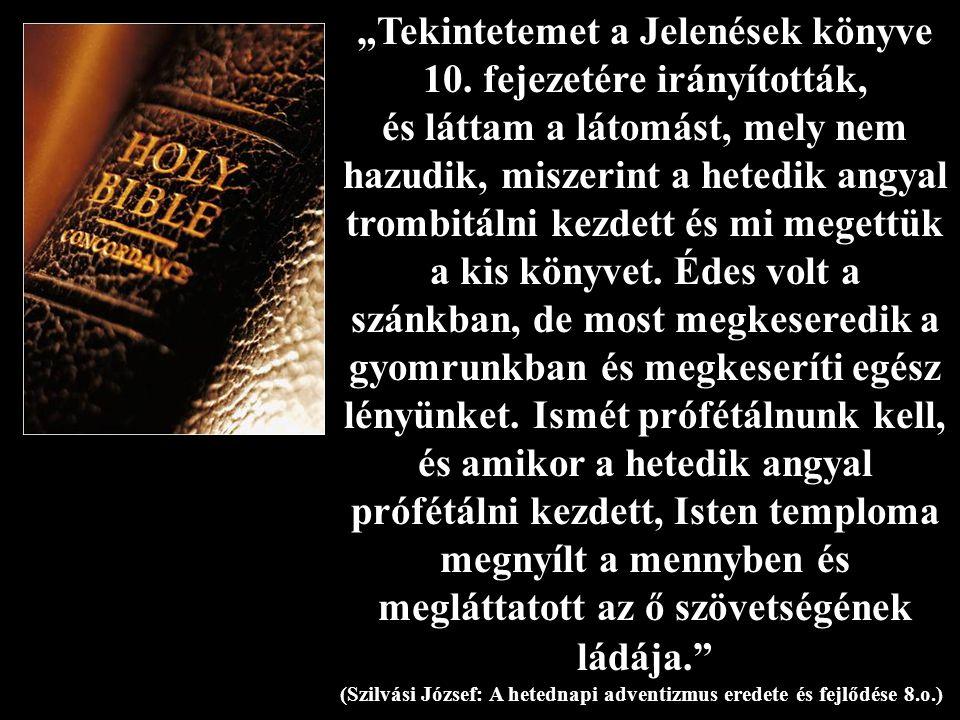 """""""Tekintetemet a Jelenések könyve 10. fejezetére irányították, és láttam a látomást, mely nem hazudik, miszerint a hetedik angyal trombitálni kezdett é"""