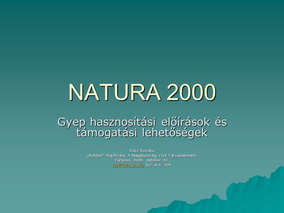"""NATURA 2000 Gyep hasznosítási előírások és támogatási lehetőségek Rácz Renáta """"Beklen"""" Alapítvány A Nagykunsági Civil Társadalomért Túrkeve, 2009. okt"""
