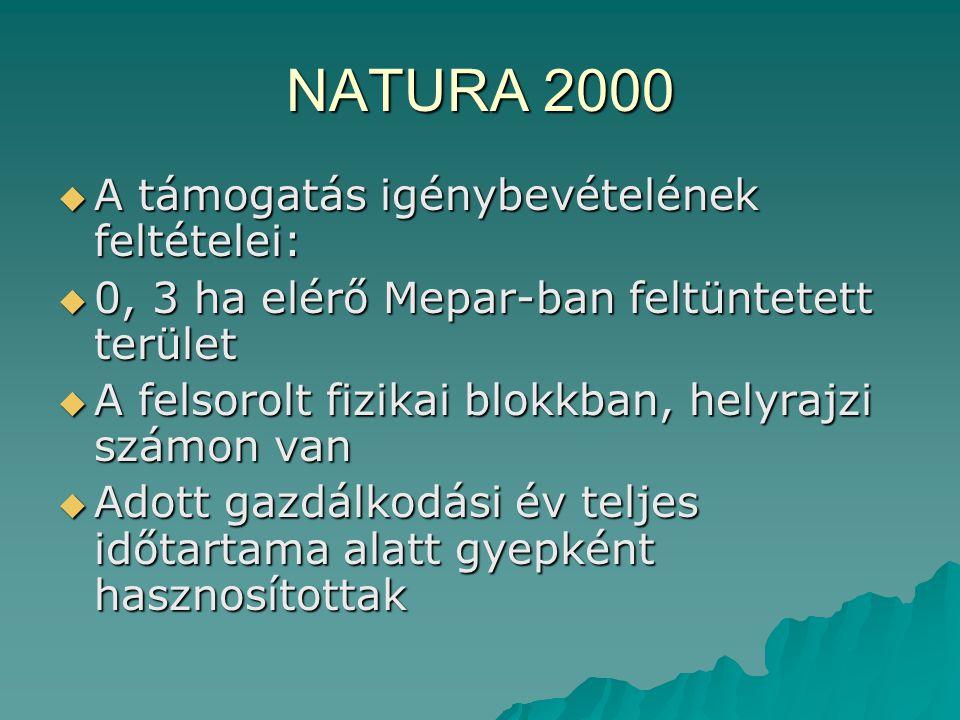 NATURA 2000  A támogatás igénybevételének feltételei:  0, 3 ha elérő Mepar-ban feltüntetett terület  A felsorolt fizikai blokkban, helyrajzi számon