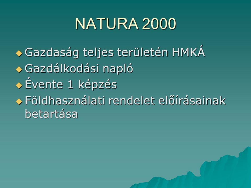 NATURA 2000  Gazdaság teljes területén HMKÁ  Gazdálkodási napló  Évente 1 képzés  Földhasználati rendelet előírásainak betartása