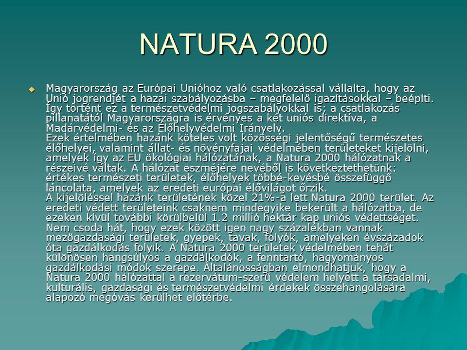 NATURA 2000  Magyarország az Európai Unióhoz való csatlakozással vállalta, hogy az Unió jogrendjét a hazai szabályozásba – megfelelő igazításokkal –
