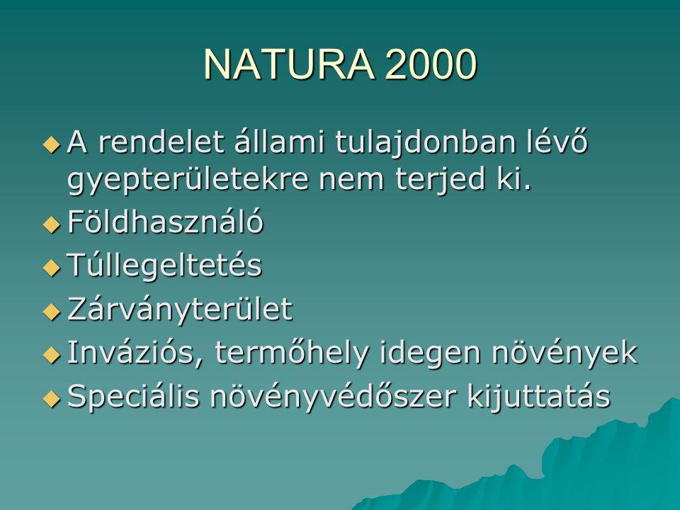 NATURA 2000  A rendelet állami tulajdonban lévő gyepterületekre nem terjed ki.  Földhasználó  Túllegeltetés  Zárványterület  Inváziós, termőhely