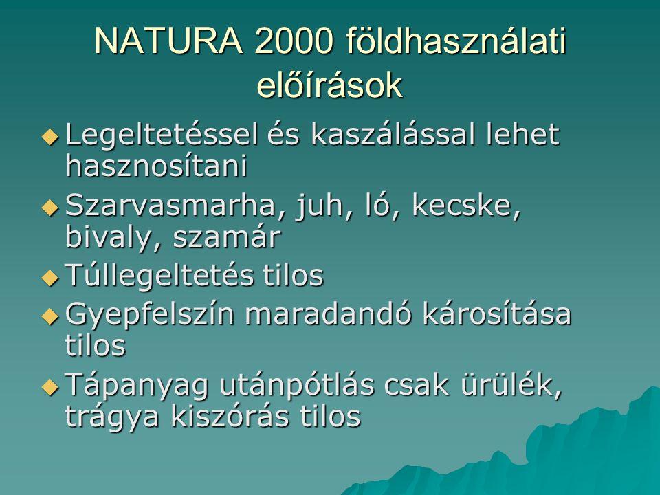 NATURA 2000 földhasználati előírások  Legeltetéssel és kaszálással lehet hasznosítani  Szarvasmarha, juh, ló, kecske, bivaly, szamár  Túllegeltetés