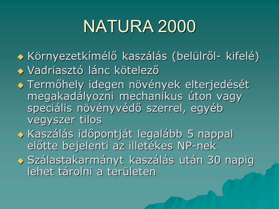 NATURA 2000  Környezetkímélő kaszálás (belülről- kifelé)  Vadriasztó lánc kötelező  Termőhely idegen növények elterjedését megakadályozni mechaniku
