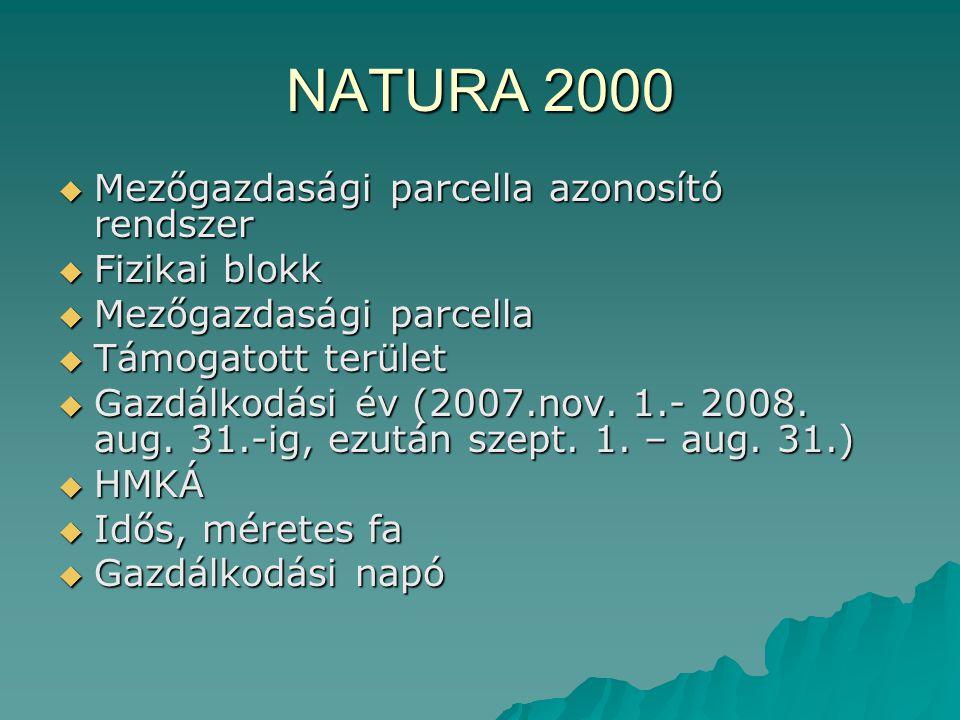 NATURA 2000  Mezőgazdasági parcella azonosító rendszer  Fizikai blokk  Mezőgazdasági parcella  Támogatott terület  Gazdálkodási év (2007.nov. 1.-