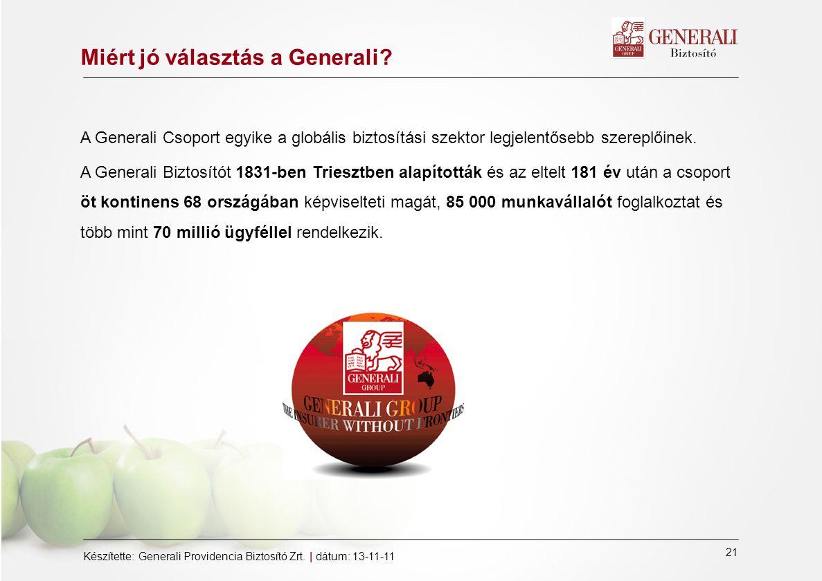 21 Készítette: Generali Providencia Biztosító Zrt.
