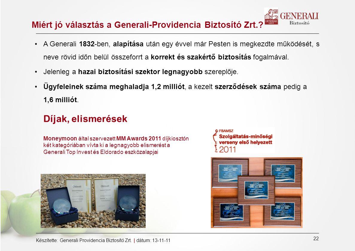 22 Készítette: Generali Providencia Biztosító Zrt.