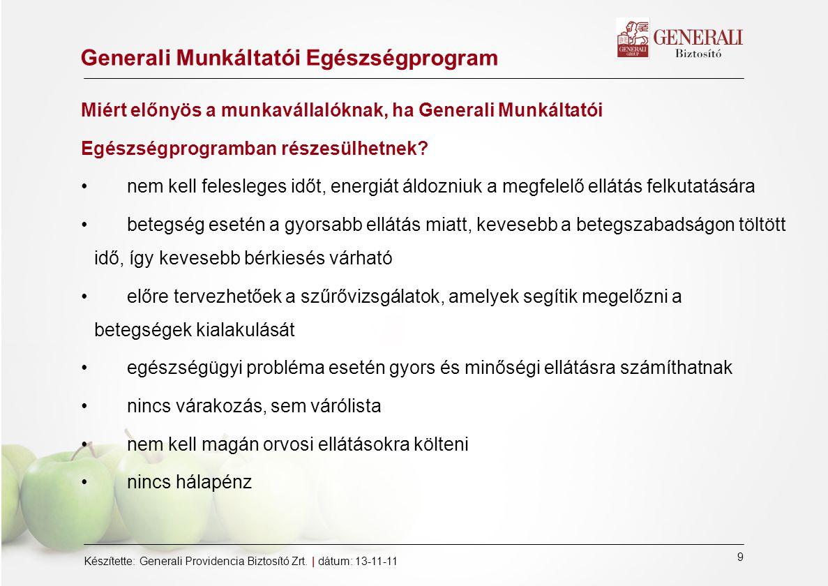 9 Készítette: Generali Providencia Biztosító Zrt.