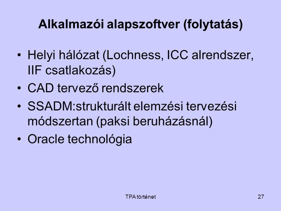 TPA történet27 Alkalmazói alapszoftver (folytatás) •Helyi hálózat (Lochness, ICC alrendszer, IIF csatlakozás) •CAD tervező rendszerek •SSADM:strukturá
