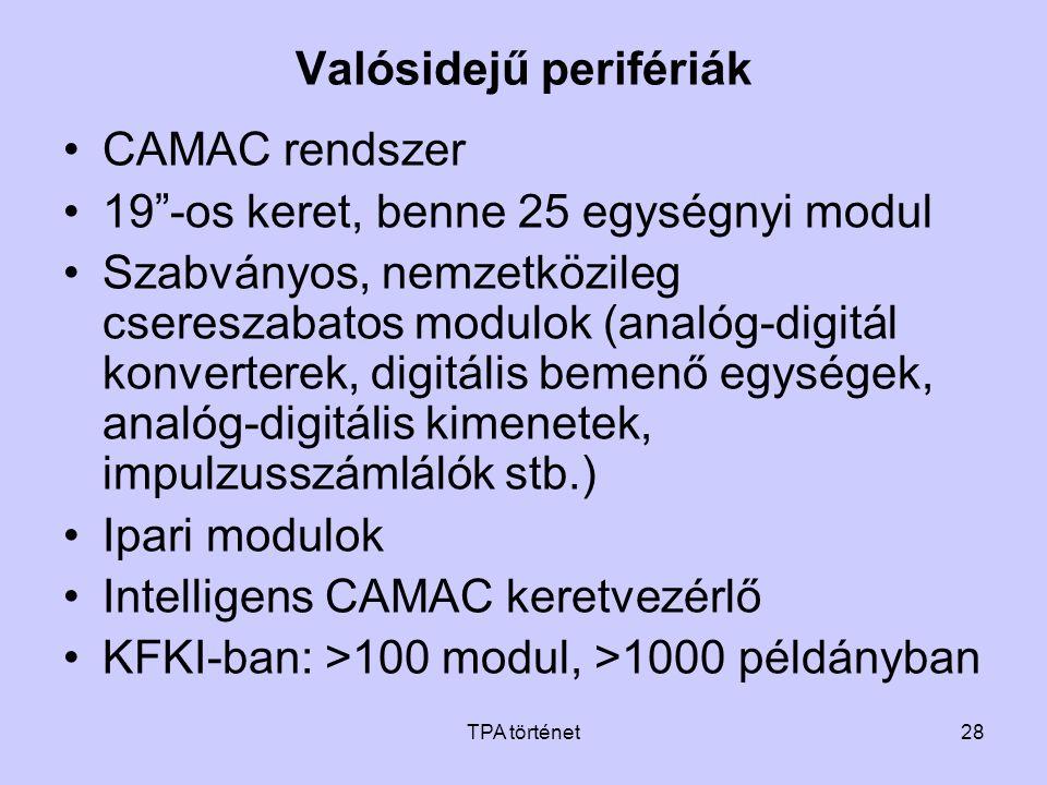 """TPA történet28 Valósidejű perifériák •CAMAC rendszer •19""""-os keret, benne 25 egységnyi modul •Szabványos, nemzetközileg csereszabatos modulok (analóg-"""