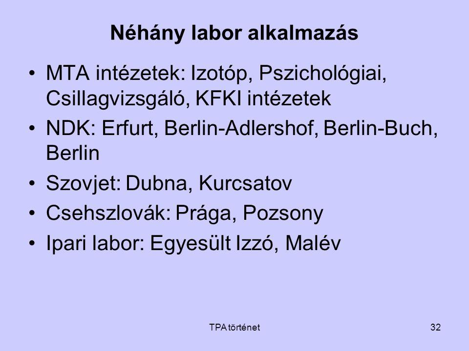 TPA történet32 Néhány labor alkalmazás •MTA intézetek: Izotóp, Pszichológiai, Csillagvizsgáló, KFKI intézetek •NDK: Erfurt, Berlin-Adlershof, Berlin-B
