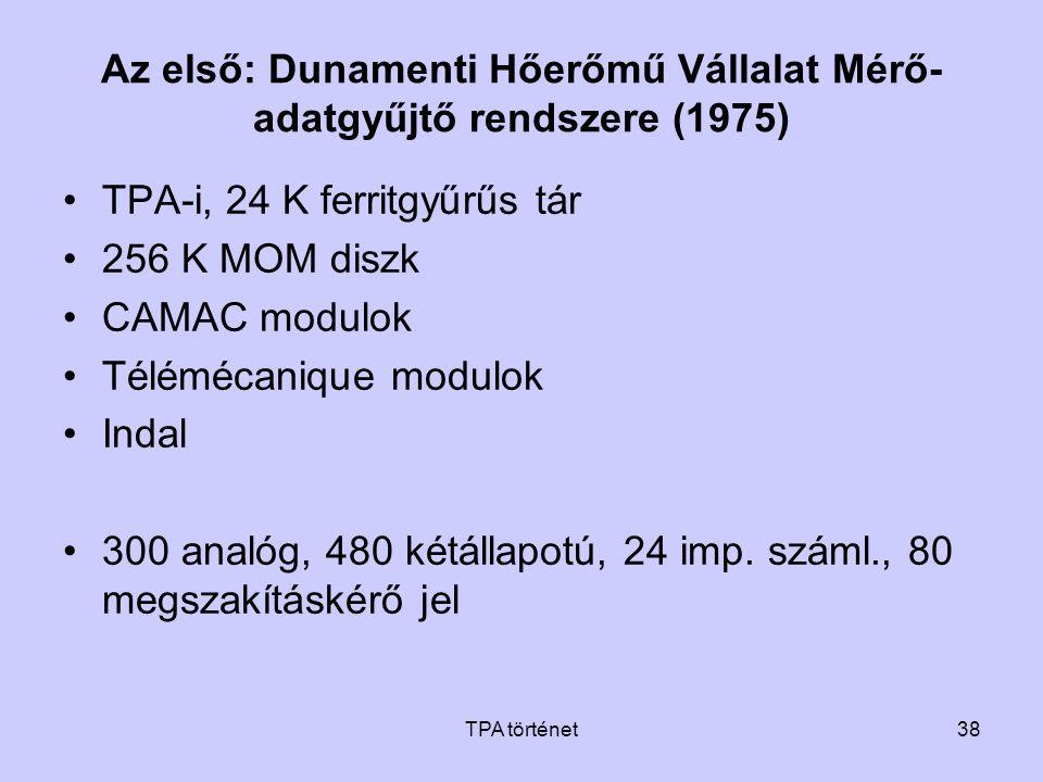 TPA történet38 Az első: Dunamenti Hőerőmű Vállalat Mérő- adatgyűjtő rendszere (1975) •TPA-i, 24 K ferritgyűrűs tár •256 K MOM diszk •CAMAC modulok •Té