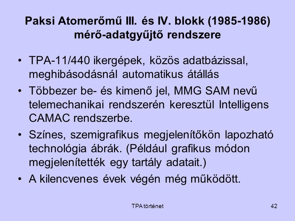 TPA történet42 Paksi Atomerőmű III. és IV. blokk (1985-1986) mérő-adatgyűjtő rendszere •TPA-11/440 ikergépek, közös adatbázissal, meghibásodásnál auto