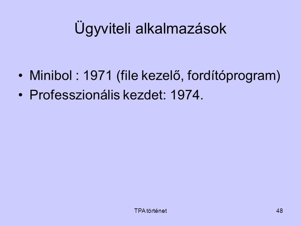 TPA történet48 Ügyviteli alkalmazások •Minibol : 1971 (file kezelő, fordítóprogram) •Professzionális kezdet: 1974.