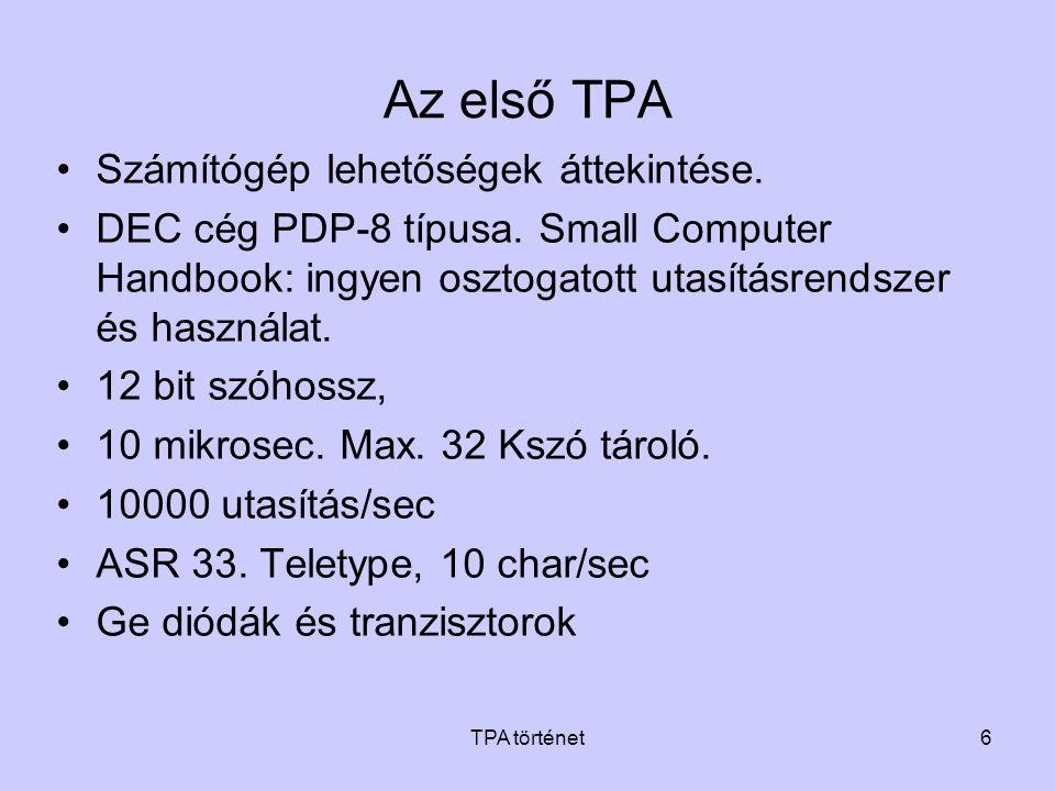 TPA történet6 Az első TPA •Számítógép lehetőségek áttekintése. •DEC cég PDP-8 típusa. Small Computer Handbook: ingyen osztogatott utasításrendszer és