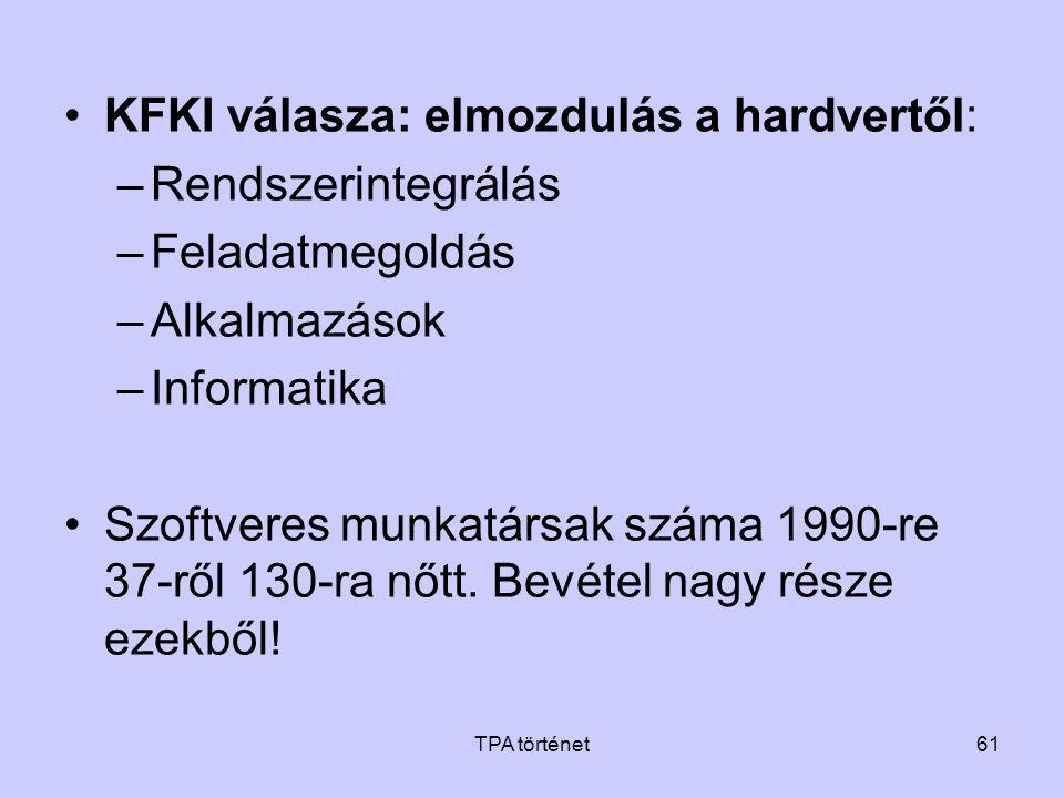 TPA történet61 •KFKI válasza: elmozdulás a hardvertől: –Rendszerintegrálás –Feladatmegoldás –Alkalmazások –Informatika •Szoftveres munkatársak száma 1