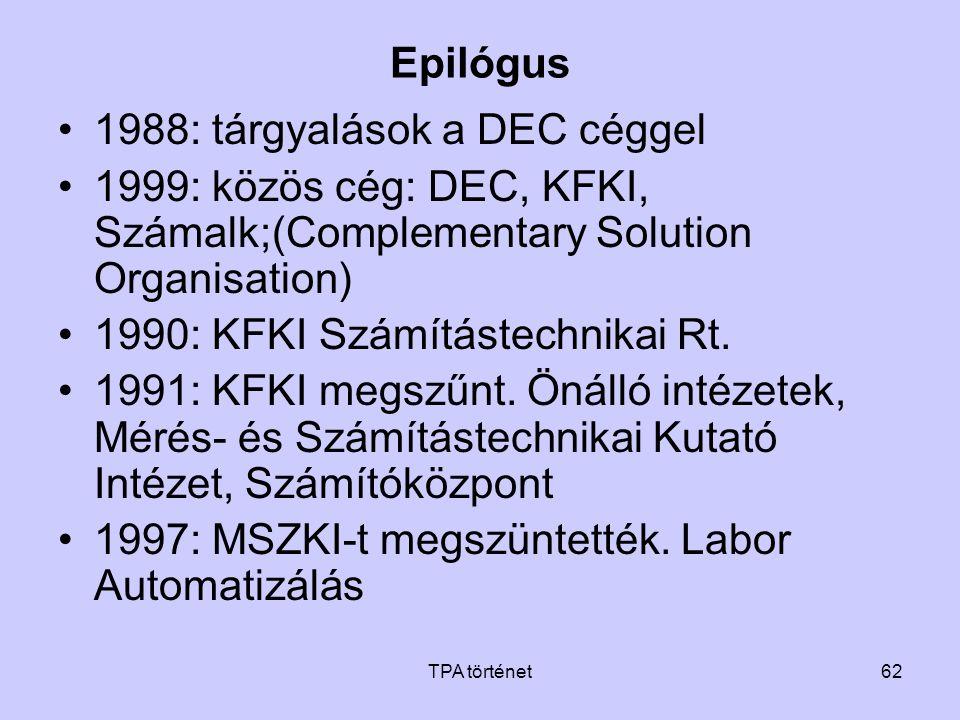 TPA történet62 Epilógus •1988: tárgyalások a DEC céggel •1999: közös cég: DEC, KFKI, Számalk;(Complementary Solution Organisation) •1990: KFKI Számítá