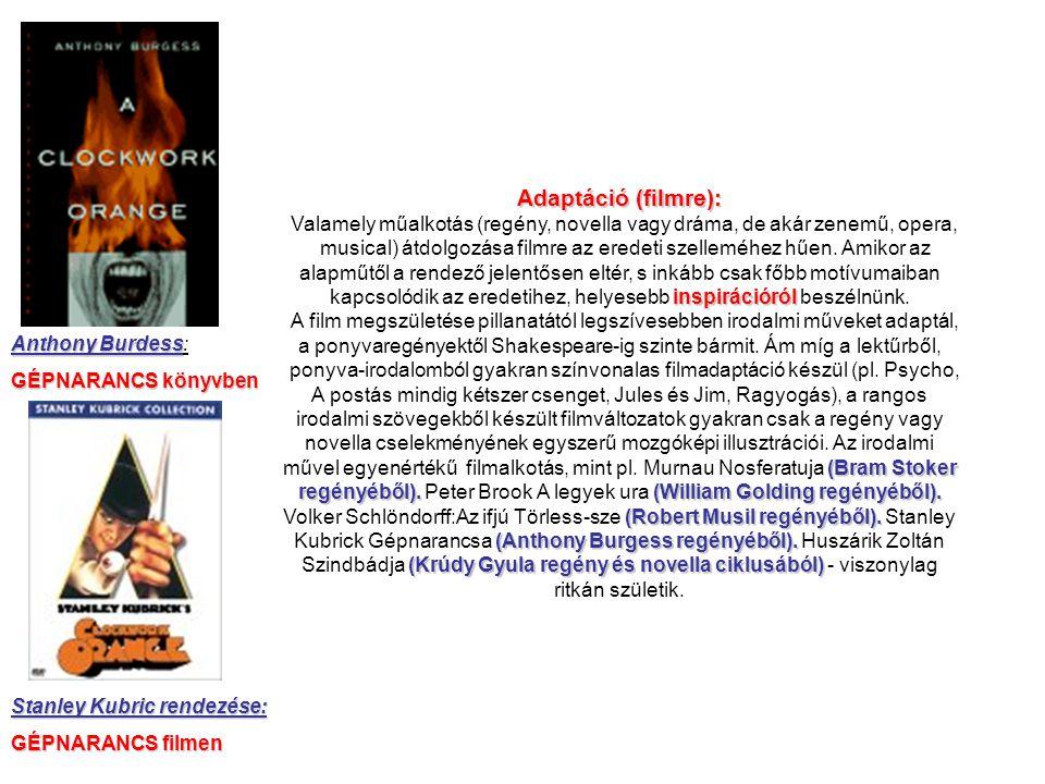 Anthony Burdess Anthony Burdess: GÉPNARANCS könyvben Stanley Kubric rendezése: GÉPNARANCS filmen Adaptáció (filmre): Valamely műalkotás (regény, novel