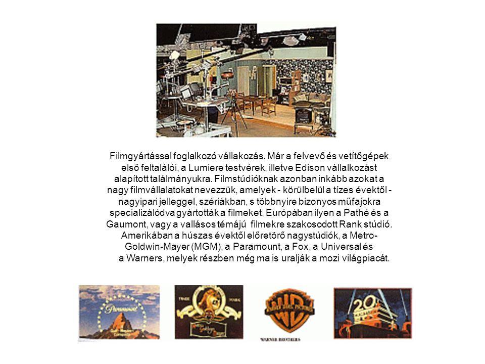 Filmgyártással foglalkozó vállakozás. Már a felvevő és vetítőgépek első feltalálói, a Lumiere testvérek, illetve Edison vállalkozást alapított találmá