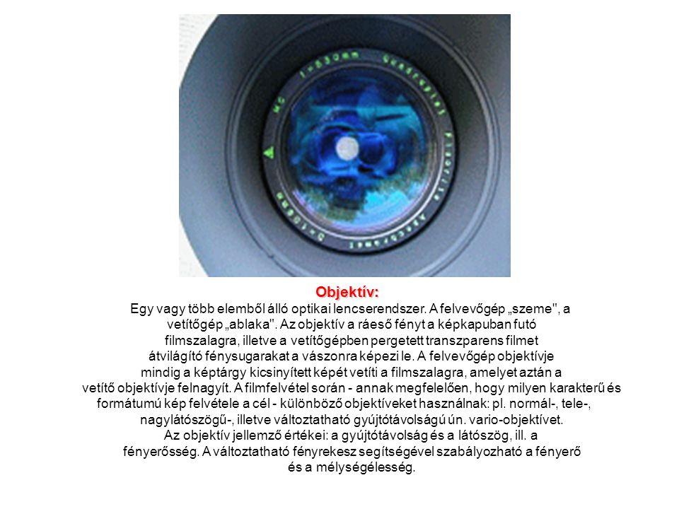 """Objektív: Egy vagy több elemből álló optikai lencserendszer. A felvevőgép """"szeme"""