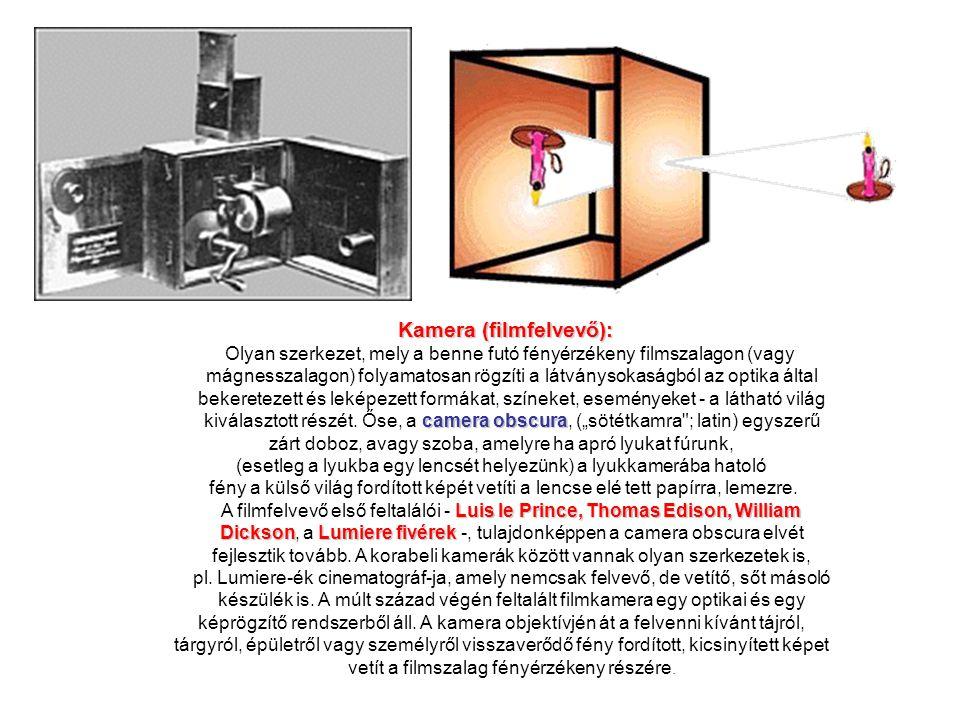 Kamera (filmfelvevő): Olyan szerkezet, mely a benne futó fényérzékeny filmszalagon (vagy mágnesszalagon) folyamatosan rögzíti a látványsokaságból az o
