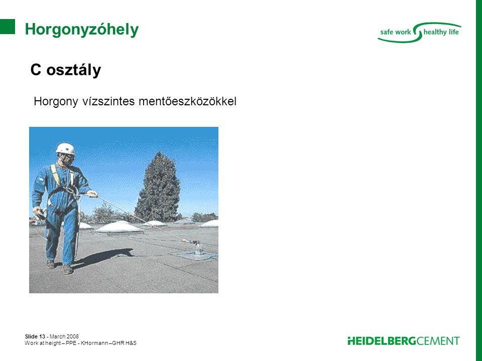 Slide 13 - March 2008 Work at height – PPE - KHormann –GHR H&S Horgonyzóhely C osztály Horgony vízszintes mentőeszközökkel