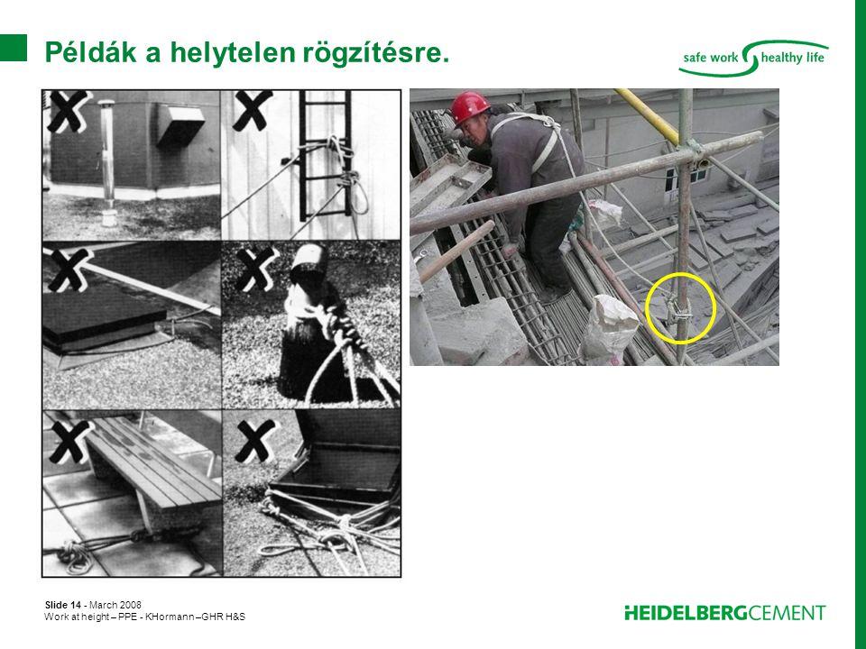 Slide 14 - March 2008 Work at height – PPE - KHormann –GHR H&S Példák a helytelen rögzítésre.