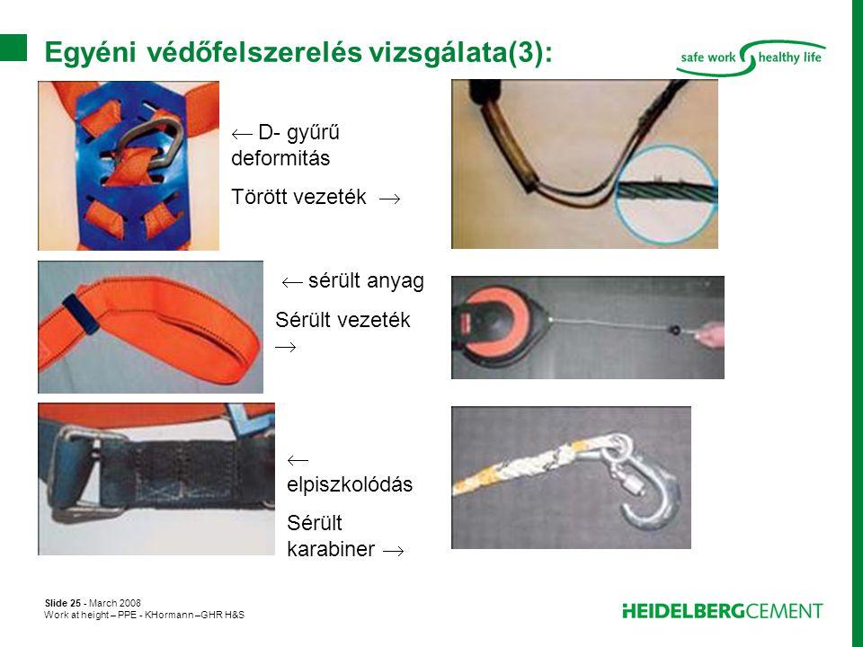 Slide 25 - March 2008 Work at height – PPE - KHormann –GHR H&S Egyéni védőfelszerelés vizsgálata(3):  D- gyűrű deformitás Törött vezeték   sérült a