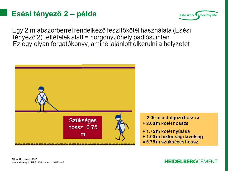Slide 29 - March 2008 Work at height – PPE - KHormann –GHR H&S Egy 2 m abszorberrel rendelkező feszítőkötél használata (Esési tényező 2) feltételek al