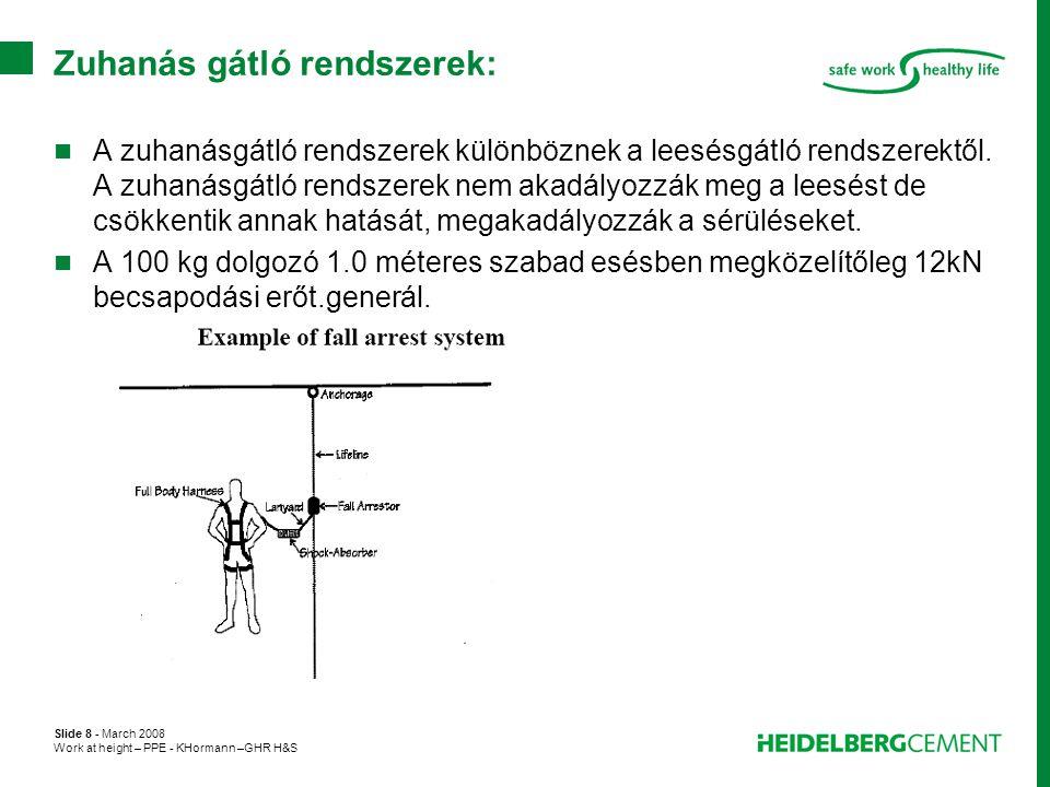 Slide 8 - March 2008 Work at height – PPE - KHormann –GHR H&S Zuhanás gátló rendszerek:  A zuhanásgátló rendszerek különböznek a leesésgátló rendszer