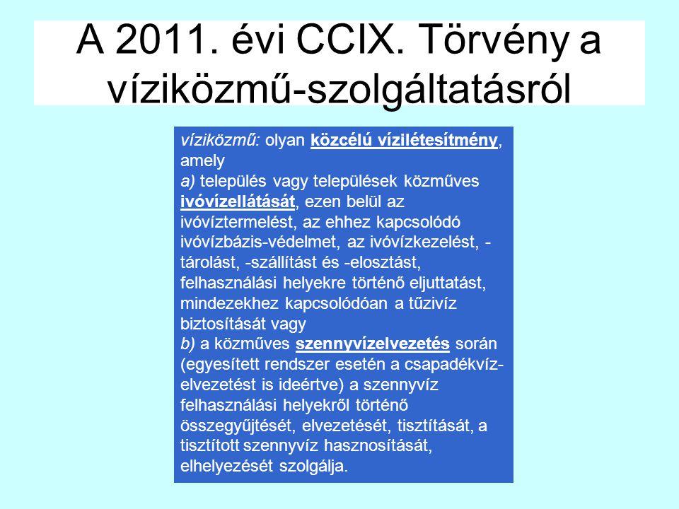 A 2011. évi CCIX. Törvény a víziközmű-szolgáltatásról víziközmű: olyan közcélú vízilétesítmény, amely a) település vagy települések közműves ivóvízell